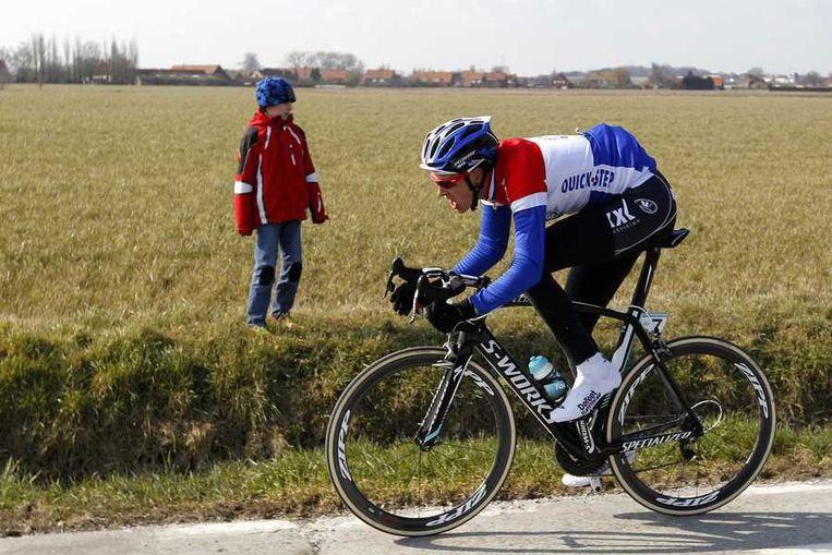 Niki Terpstra in actie tijdens de Ronde van Vlaanderen. Beeld anp