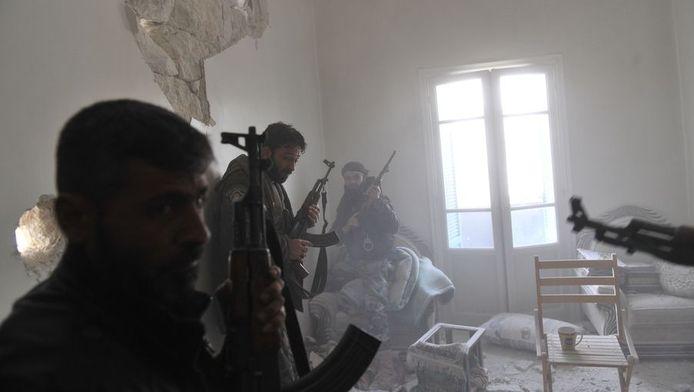Syrische rebellen in de stad Aleppo, 23 maart