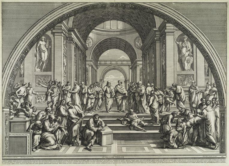 Kopie naar Rafaëls beroemdste muurschildering, de School van Athene in de Stanza della Segnatura in het Vaticaan. In deze ruimte was de privébibliotheek van paus Julius II ondergebracht. De twee invloedrijkste filosofen, Plato en Aristoteles, staan in het midden. Beeld Teylers Museum Haarlem