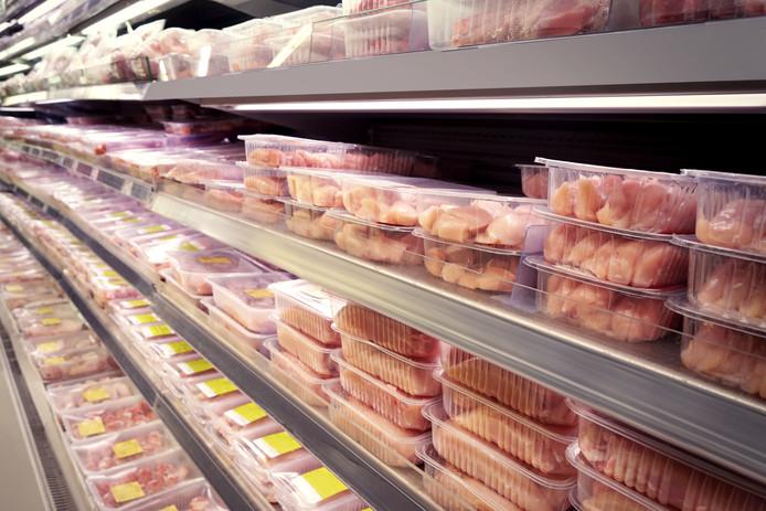 Kip kiloknaller schap supermarkt