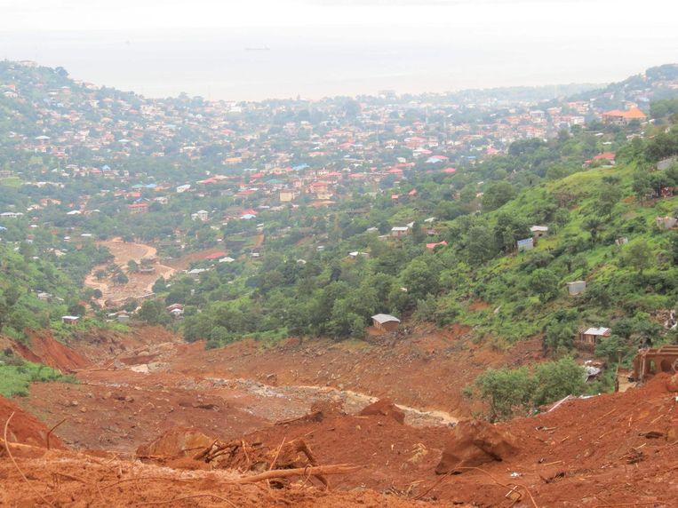 Zicht op de modderstroom. Beeld AFP
