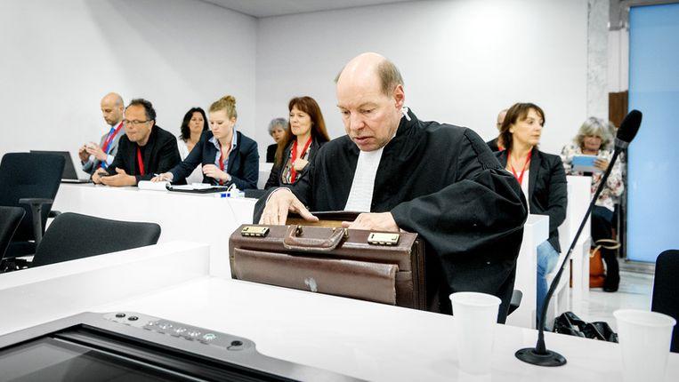 Wim Anker, advocaat van Robert M., voorafgaand aan de uitspraak van het hoger beroep tegen hoofdverdachte M. en diens partner Richard van O. op 26 april 2013. Beeld anp