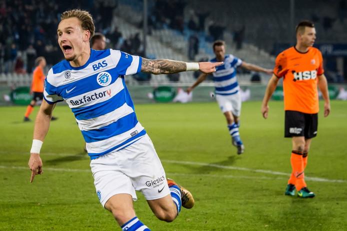 Mark Diemers schreeuwt het uit na de 1-0 tegen FC Volendam. Foto: Pro Shots/Lars Smook