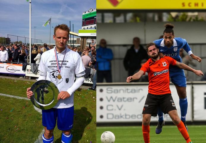 Gert-Jan van Leiden als van ADO'20. Rechts Lionel Fitsch (in blauw tenue) in actie voor Barendrecht.