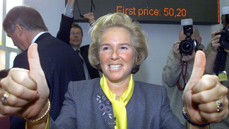 Nina Brink, blij met de openingskoers van World Online. Maar haar eigen aandelen had ze drie maanden daarvoor verkocht. Beeld anp