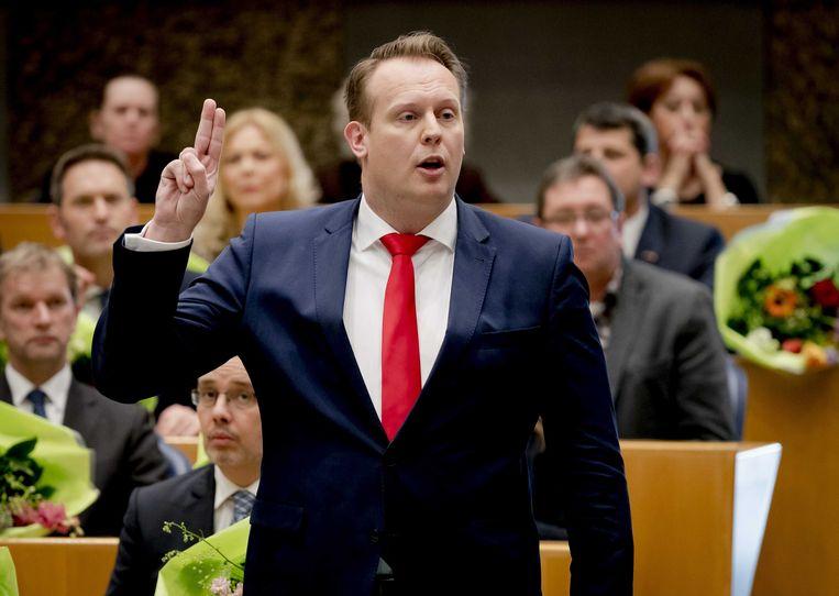 Pieter Heerma (CDA) legt begin 2017 de eed af tijdens de installatie van de nieuwe Kamerleden. Beeld ANP