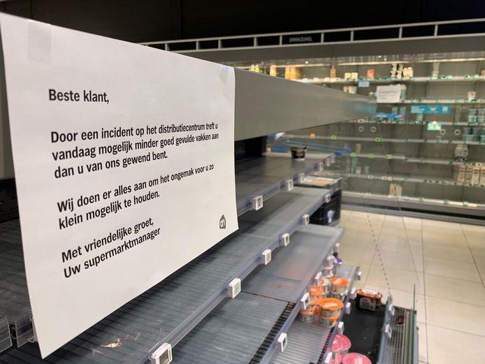 Schappen in Eindhoven zijn leeg.