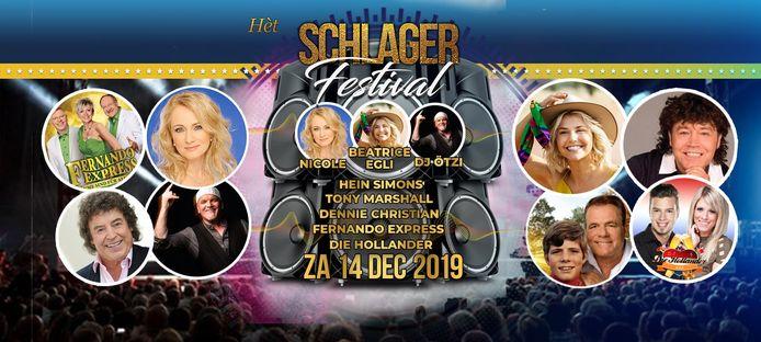 Een aankondiging van het Schlagerfestival in het Beursgebouw.