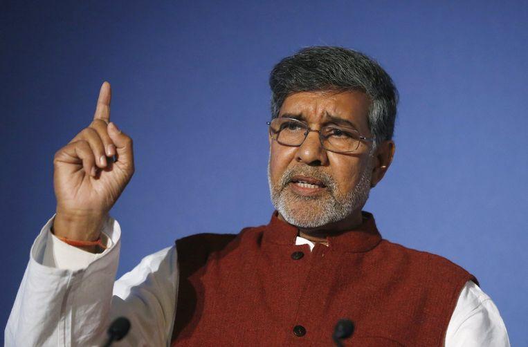 Kailash Satyarthi, winnaar van de Nobelprijs voor de Vrede vanwege zijn jarenlange strijd tegen kinderarbeid. Beeld reuters