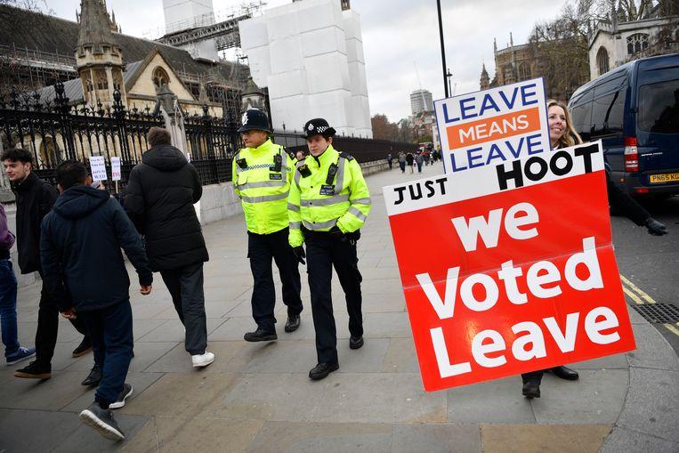 Demonstranten in Londen.  Beeld EPA