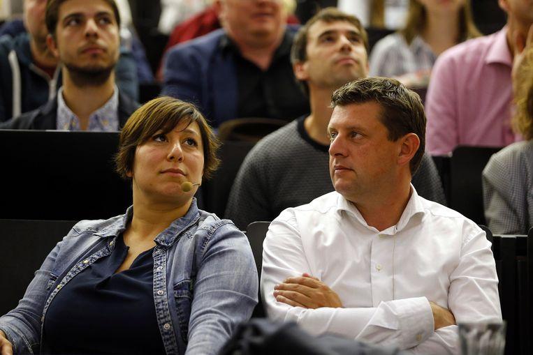Groen-voorzitster Meyrem Almaci en Sp.a-voorzitter John Crombez.