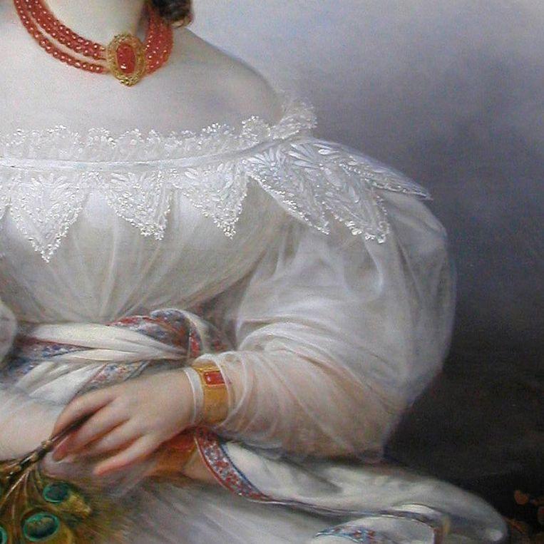 Detail uit: François-Joseph Kinsoen, Portret van een Duitse prinses, 1828. Beeld  Bowes Museum, Teesdale, Engeland