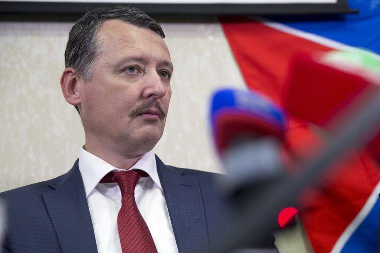 Igor Strelkov tijdens een persconferentie in oktober in Moskou. Beeld ap