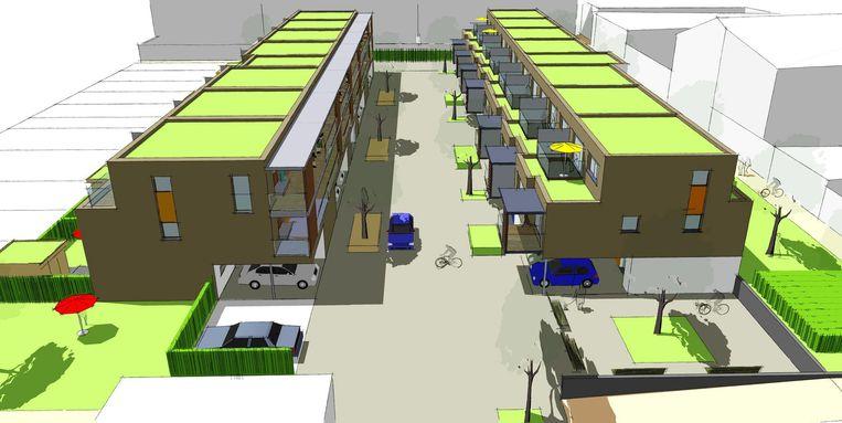 Een toekomstbeeld van hoe de wijk Berkenhof er zal uitzien.
