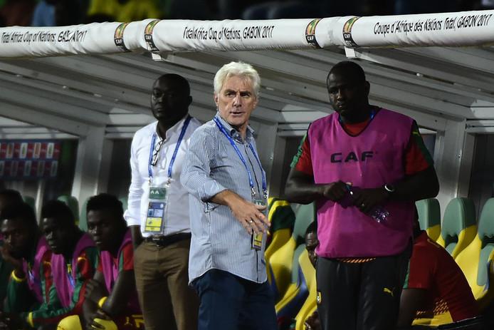 Bondscoach Hugo Broos tijdens de kwartfinale tegen Senegal.
