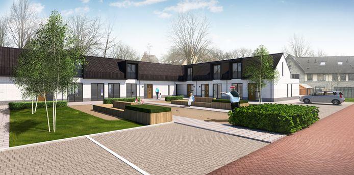 Het nieuwe hofje aan de Swertpoellaan in Helmond, met jeu-de-boulesbaan