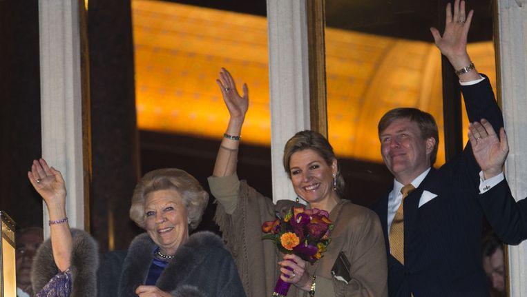 Koningin Beatrix, prinses Maxima en prins Willem-Alexander Beeld getty