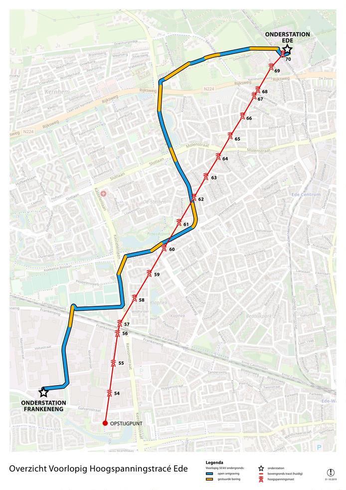 De route van de elektriciteitskabel