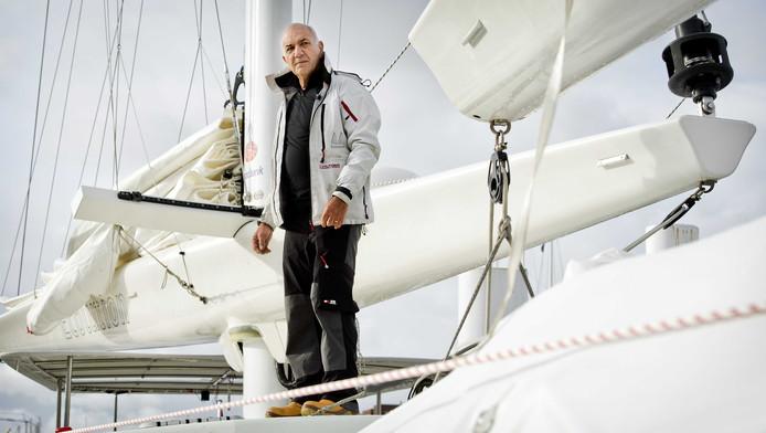 Wubbo Ockels in mei 2012 op zijn boot de Ecolution voorafgaand aan het vertrek uit de haven van Scheveningen.
