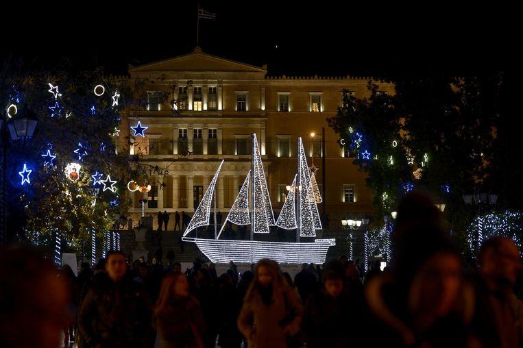 Kerstversiering in Athene. Beeld AFP