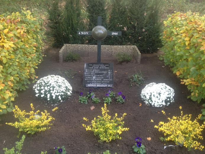 De namen en leeftijden van de zeven Schotse bevrijders die in 1944 in de nabijheid van de Distelberg hun leven lieten.