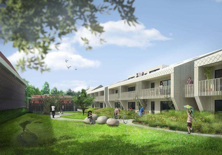 Het complex krijgt onder meer een gemeenschappelijke achtertuin, waar toekomstige bewoners speeltuigen kunnen plaatsen of een moestuin aanleggen.