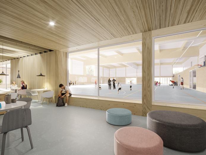 Impressie: Vanuit de kantine van het nieuwe binnensportcomplex van Zaltbommel is zicht op de sporthal en het zwembad.
