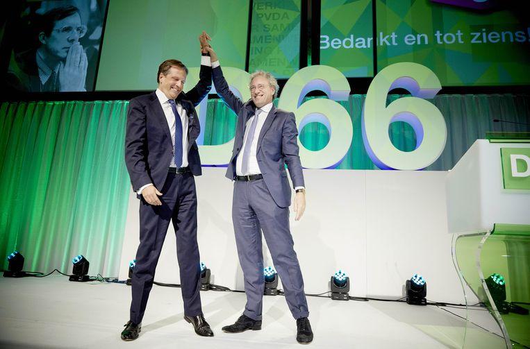 Alexander Pechtold en Thom de Graaf op het honderdste D66-congres, november 2014. Beeld ANP