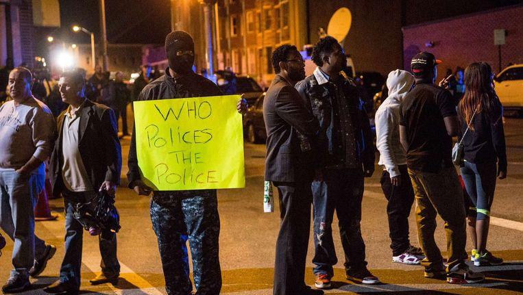 Inwoners van Baltimore demonstreren tegen de politie. Beeld afp