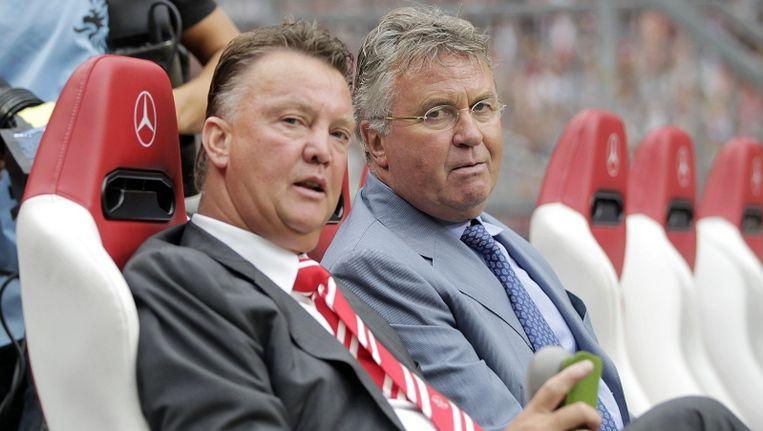 Guus Hiddink (r) met Louis van Gaal. Beeld PRO SHOTS