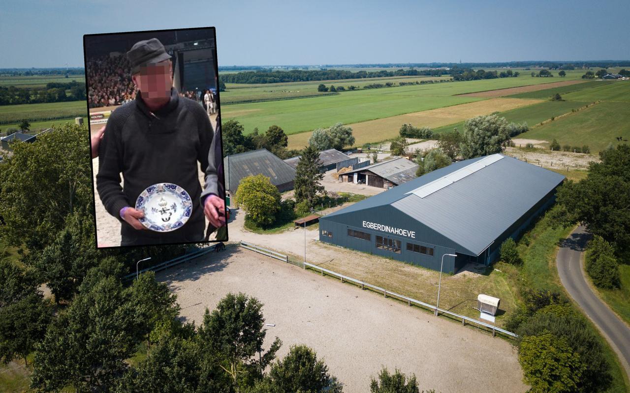 De manege van Jan B. in Nijeveen, De Egberdinahoeve. Inzet: Jan B. toen hij in 2017 verkozen werd tot Fokker van het Jaar.