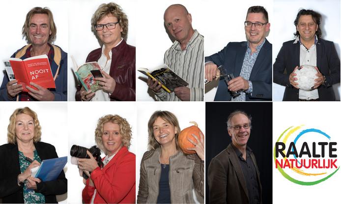 Het negental van Raalte Natuurlijk: (boven van links naar rechts) Harrie Kiekebosch, Mia Nijland, Rob Poelman, Gerard Verswijver, Refik Köse, (onder van links naar rechts) Marian Kodden-Engelaar, Corine Rutte, Agnes Heethaar en Louis Hoppen.