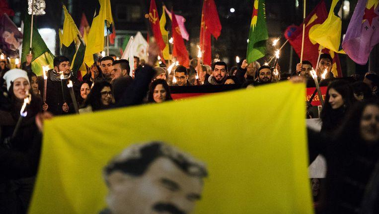 Koerden vierden in Rotterdam feest voor de herovering van de stad Kobani. Beeld ANP