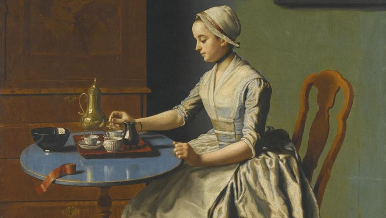Hollands meisje aan het ontbijt Beeld