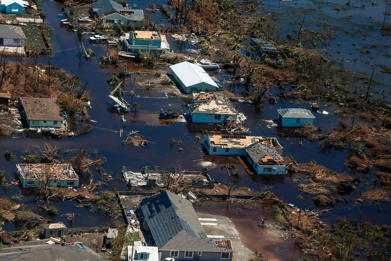 De schade op één van de Abaco-eilanden, gezien vanuit de lucht.  Beeld AFP