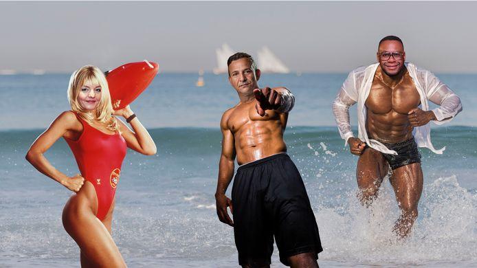 Sanne Wallis de Vries als Baywatch-babe en Najib Amhali en Howard  Komproe met jaloersmakende sixpacks. In het Scheveningse strandstadion gaan de comedians komende zomer sporten met hun publiek.