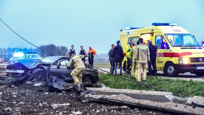 Bestuurder zwaargewond na crash tegen elektriciteitspaal