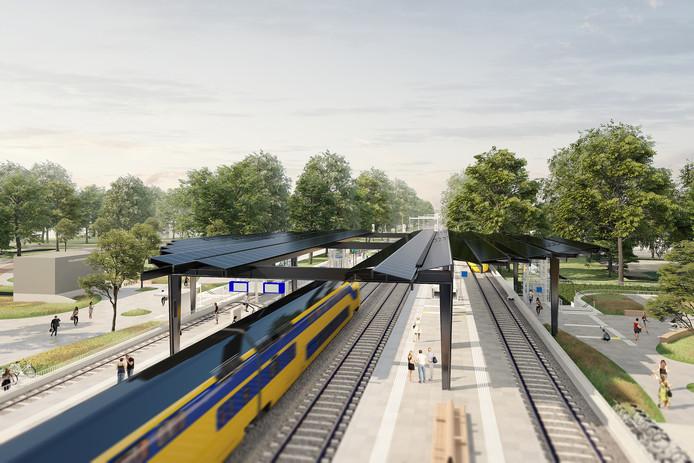 Illustratie van station Delft-Zuid als het straks compleet is verbouwd