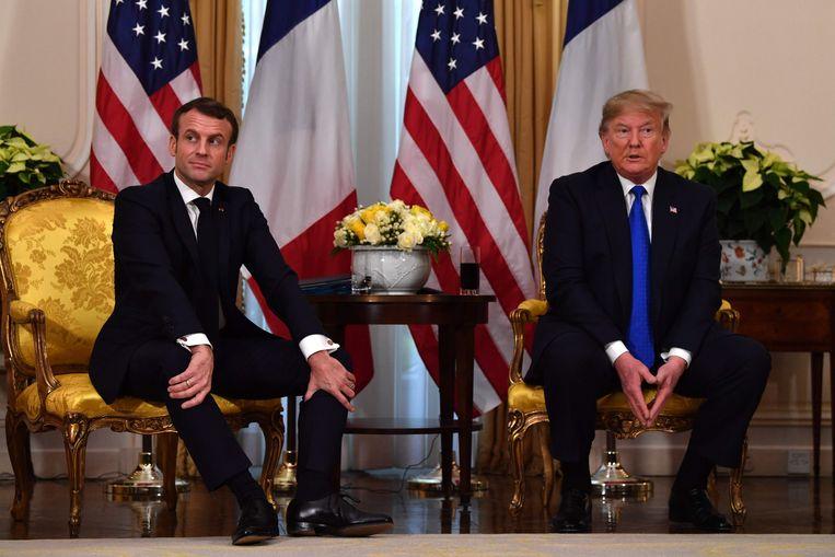 Frans president Emmanuel Macron en Amerikaans president Donald Trump tijdens hun gezamenlijke persconferentie.