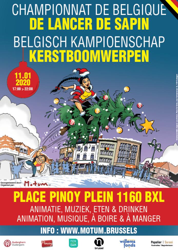 Le Championnat de Belgique de lancer de sapin, un événement sportif sérieux, mais à caractère ludique