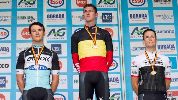 Van den Broeck (M) triomfeerde dit jaar in Mol op het Belgisch kampioenschap tijdrijden. Lampaert werd tweede.