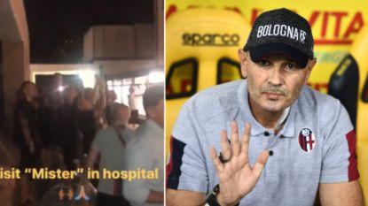 Prachtige beelden: zieke Bologna-coach inspireert via telefoon tot comeback, spelers trekken na match naar hospitaal