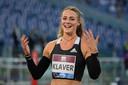 Lieke Klaver straalt na haar race op de 400 meter in Stadio Olimpico in Rome.