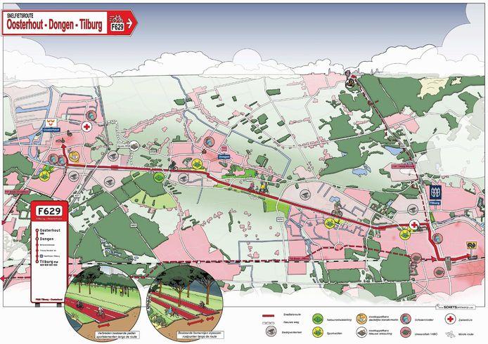 Plan voor de snelfietsroute tussen Oosterhout, Dongen en Tilburg.