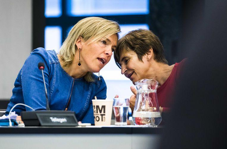 VVD'er Ockje Tellegen en Lilianne Ploumen (Pvda) tijdens commissieoverleg over medische ethiek. Beeld ANP