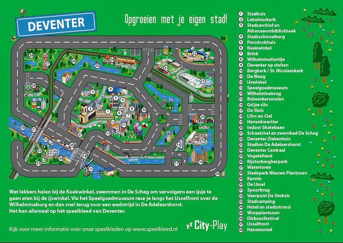 Papa is een fan van Go Ahead Eagles. Maar waar staat eigenlijk De Adelaarshorst? Kinderen kunnen op deze speelmat 38 hotspots van Deventer ontdekken.