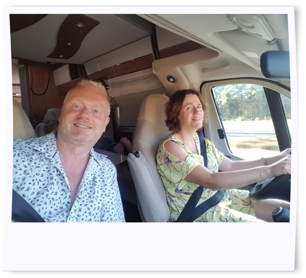 Journaliste Geertrui met haar man.