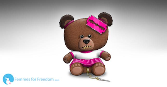 De Scare Bear cartoon van Femmes for Freedom.