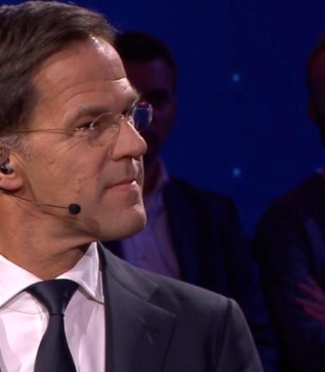 Premier Rutte en Jetten (D66) tijdens verkiezingsavond in Den Bosch