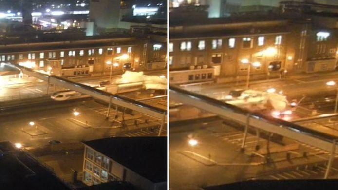 Er zijn beelden vrijgegeven van de trein die onlangs in Leeuwarden met volle snelheid op een vrachtwagen inreed. Daarbij vielen als door een wonder geen doden.
